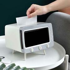 Creative TV Tissue Box Dispenser Storage Napkin Case with Mobile Phone Holders