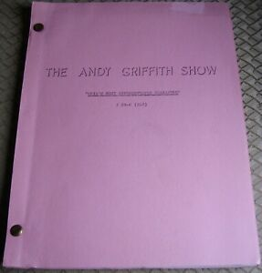 THE ANDY GRIFFITH SHOW ORIG TV Script OPIE'S MOST UNFORGETTABLE CHARACTER 1967