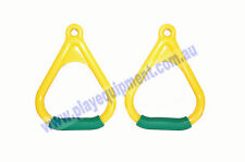 PLASTIC TRAPEZE TRIANGLE HANDLE GRIPS 2pc-YWG Swing Set Handle Play Rings Kids