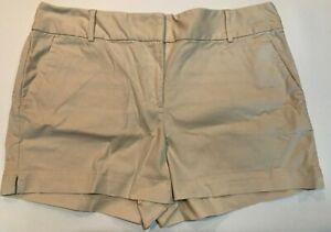 "NWT Ann Taylor LOFT Riviera Khaki Shorts 4"" Inseam Sz 14 Gray Beige"