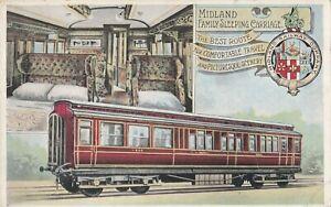 OLD POSTCARD RAILWAY MIDLAND CARRIAGE TRAIN 1900S W1