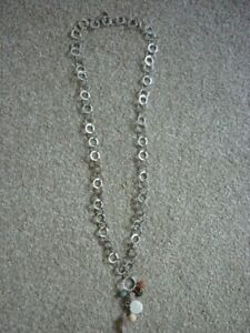 ASSYA LONDON BESPOKE PUNCHED SILVER LINKS SEMI PRECIOUS STONES CLUSTER NECKLACE