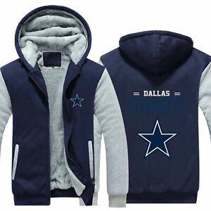 New Dallas Cowboys Fans Hoodie Fleece zip up Coat winter Jacket warm Sweatshirt