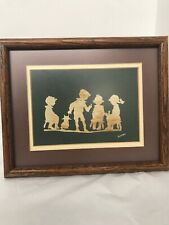 Signed Framed Print Vintage Home Decor 10�x9� Kids & Cat Silhouettes