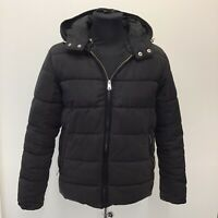 Mens Zara Black Quilted Padded Hooded Winter Coat Size Euro M Medium