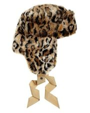 Juicy Couture Super Warm Leopard Winter Trapper Brown Rabbit Faux Fur Hat