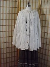 Hand Made Vtg 1960s Peek-A-Boo Daisy Floral Knit Button Down Cape Creamy White
