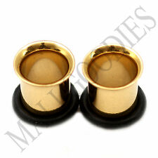 0853 Gold Single Flare Flesh Tunnels Earlets Big Gauges 0G Plugs 8mm 1 PAIR