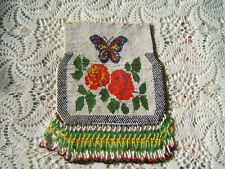 Large Vintage Beaded Purse Beautiful Butterfly and Roses  No  Handle