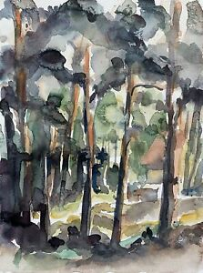 Prof Dr Alfred Behle 1935-97 Sunny Tag IN The Forest II Hut Trees Impressionism