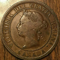 1882H CANADA LARGE CENT LARGE 1 CENT PENNY COIN - Obverse #2
