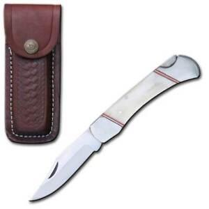 """5"""" White Bone Handle Folding Pocket Knife with Leather Sheath"""
