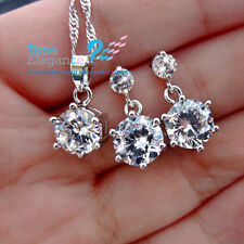 18k white gold gf sterling silver simulated diamond solid necklace earrings sets