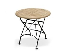 Café Round Folding Bistro Table - Teak and Metal - 0.8m - FULLY ASSEMBLED