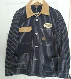 Vanson Cottons Shirt Striped Leather Cord Patches Lightweight Jacket