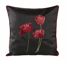 """SET OF 2 EMBROIDERED 3 RED POPPY FLOWER/S BLACK SILK18"""" CUSHIONS FILLED  £15.99"""