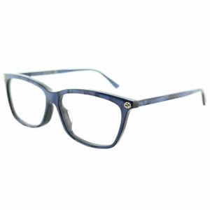 Gucci GG 0042OA 004 Asian Fit Blue Plastic Cat-Eye Eyeglasses 55mm