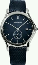 NIB Emporio Armani Men's Swiss Blue Leather Strap Watch 40mm ARS1010 $695 + tx