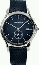 NIB Emporio Armani Men's Swiss Blue Leather Strap Watch 40mm ARS1010 $695 + tx