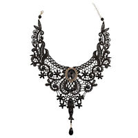 Gothic Victorian Lace Choker Necklace Metal Cameo Jewel Steampunk Cosplay LG