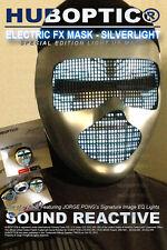 Silver Metal ELECTRIC Robot Mask - Halloween Light Up Mask DJ Tron Rave Mask BOT