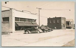 Port Hope Michigan~Main Street~Rexall Drug Store~2 Banks~1930s Cars~RPPC