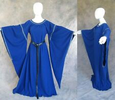 Blue Medieval Ren Bell Sleeve Dress Gown SCA Game of Thrones Cosplay LARP S M