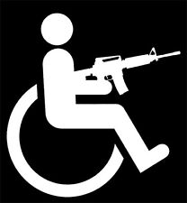 HANDICAPPED WHEELCHAIR GUN decal sticker, M-4,AR-15, awesome, funny, wheelie