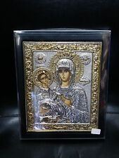Jesus Christ And Virgin Mary Tricherousa Greek Orthodox Silver Icon 21.5x17.5cm
