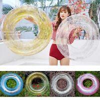Transparent Inflatable Swim Tube Glitter Raft Round Swim Ring for Summer Pool
