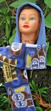 Tall Hooded Pocket Scarf, Blue Beer printed Fleece, NO Fringe, Reversible.