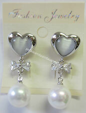 New Stud Drop Earrings Sparkling Silver Tone With Diamonte Bow, Pearl & Heart