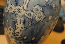 Chinese Chinoiserie Cylinder Vase with Prunus Blossom, Chinese Blue and White Va