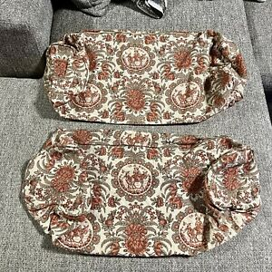 Vintage Victorian Floral Horse Tapestry Knit Toile Bolster Pillow Shams Pair 40s