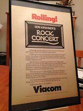 """Big 11X17 Framed Original """"Don Kirshner 'S Rock Concert"""" Tv Show Promo Ad"""