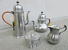 VINTAGE JOHN SOMERS BRAZIL PEWTER COLONIAL COFFEE TEA POT wCREAM/SUGAR SET MINT