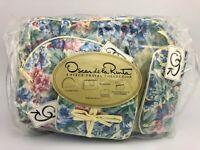 Vintage Oscar De La Renta 4 Pc Travel Collection - Makeup Bag Cosmetic Floral