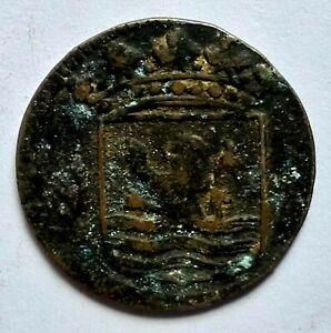 NETHERLANDS EAST INDIES, VOC ZEELAND 1 DUIT 1753 Used in Sri Lanka (Ceylon) #UF