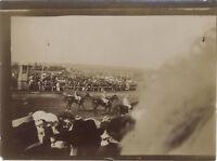 Snapshot Corse cavallo Fotografia Originale Vintage Citrato ca 1900 ND35