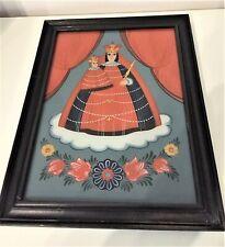 Madonna mit Kind Hinterglasmalerei Holzrahmen /R23