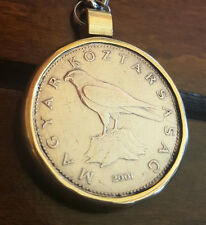 Vintage Key Chain Necklace Coin Eagle Hungary Brass Pendant Collectible Gift #52
