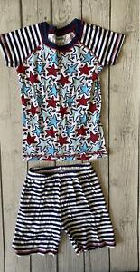 Gymboree Unisex Girls Boys Size 5 Red, White & Blue Stars & Stripes Pajamas PJs