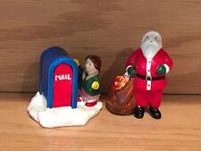 Vintage Department 56 Snow Village Girl at Mailbox & Santa Claus #50598