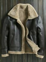 Men's B3 Flying Aviator Brown Bomber Sheepskin Real Leather FUR Warmth Jacket