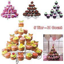 5 Tier- 41 Count Cupcake Stand Metal Holder Tower Wedding Birthday Party Dessert