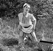 1960s Nude Nurse outside jacked up skirt DDs breasts Garters 8 x 8 Photograph