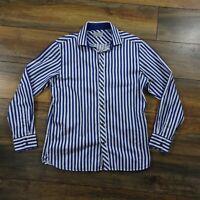 "Mens Ted Baker 15.5"" Blue White Striped Long Sleeve Cotton Shirt 38"""