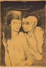 """ERNST FUCHS - """"Das ungleiche paar"""" - rare vintage lithograph  - 1967"""