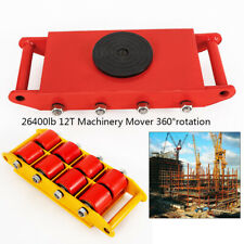 12T /26400 lbs Heavy Duty Machine Dolly Skate Roller Machinery Mover 360° degree