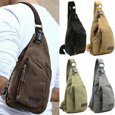 Mens Canvas Cross Body Shoulder Bags Military Travel Sling Backpack Chest Bag UK